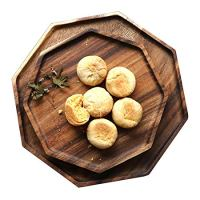 Set of 2 Acacia Wooden Octagon Square Trays Serving Bread Plates for Fruit Salad Vegetable Food Dish