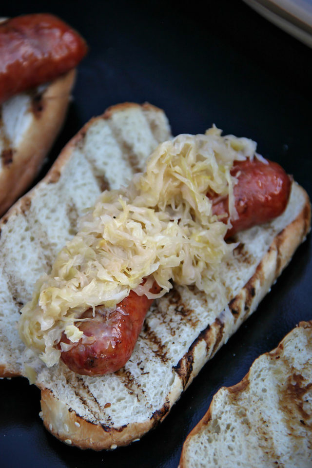 Recipe for Smoked Smithfield Craft Collection Yuengling Traditional Bratwurst and Sauerkraut Hoagie