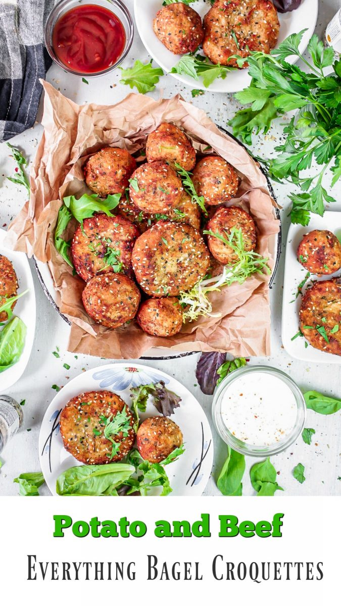 I do not know about you, but I could live on these Potato and Beef Everything Bagel Croquettes. Our Family Everything Bagel Seasoning Blend pairs well with anything your heart, or stomach, desires and we love it! #OurFamilyEverythingSeasoning #recipe