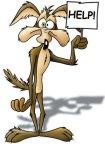 coyote-correcaminos pide ayuda