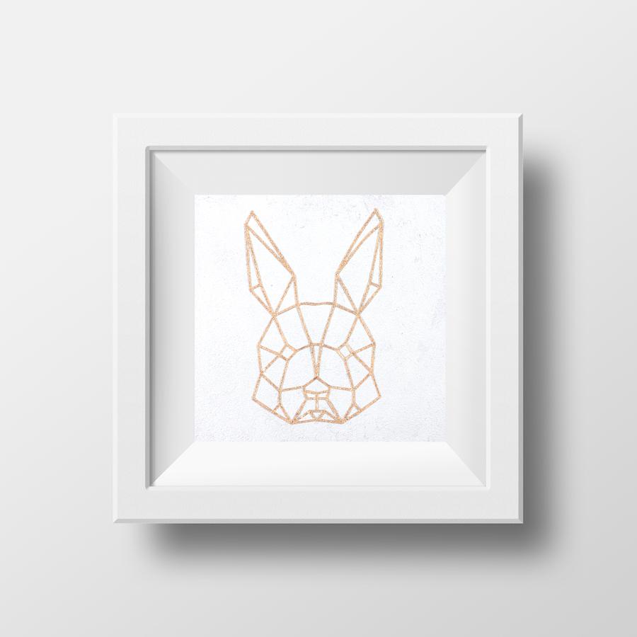 Polygon Hase Kupfer Bild