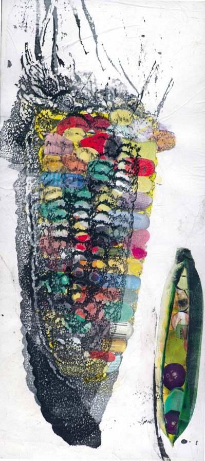Illustration, 2002, collage, impression sur papier de soie, transfert, grattage, 26 cm x 53 cm