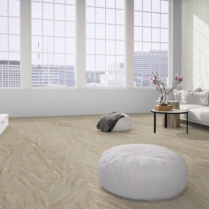 Loft with flexible sandstone floor covering design white rock
