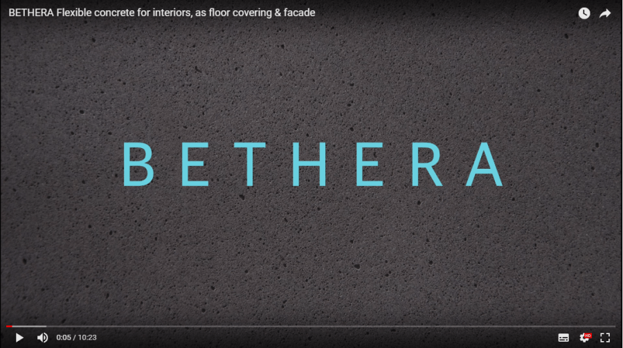 BETHERA Flexible concrete for interiors, as floor covering & facade