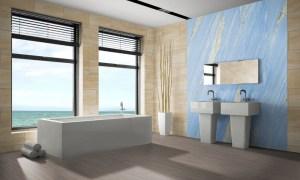 Sandstein Interior Design Wandverkleidung in flexiblen Sandsteinfliesen und Sandsteintapete Bly-Sky geeignet für Wellness Nassbereich