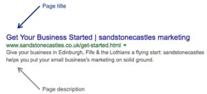 page title and description search results SEO