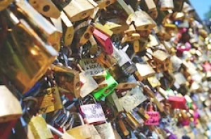 loyalty: a large amount of locks attached to a bridge