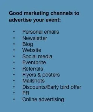 Good marketing channels to advertise your local business event