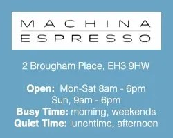 The Best Cafés to Work from in Edinburgh: machina espresso