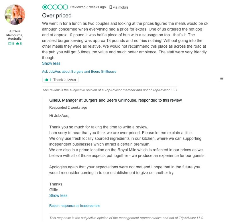 burgers and beers dealing with negative reviews