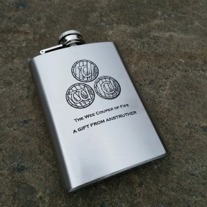 Engraved hip flask from The Wee Cooper of Fife