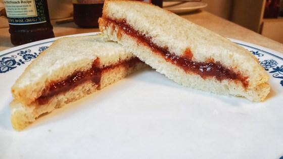 Strawberry rhubarb jam sandwich