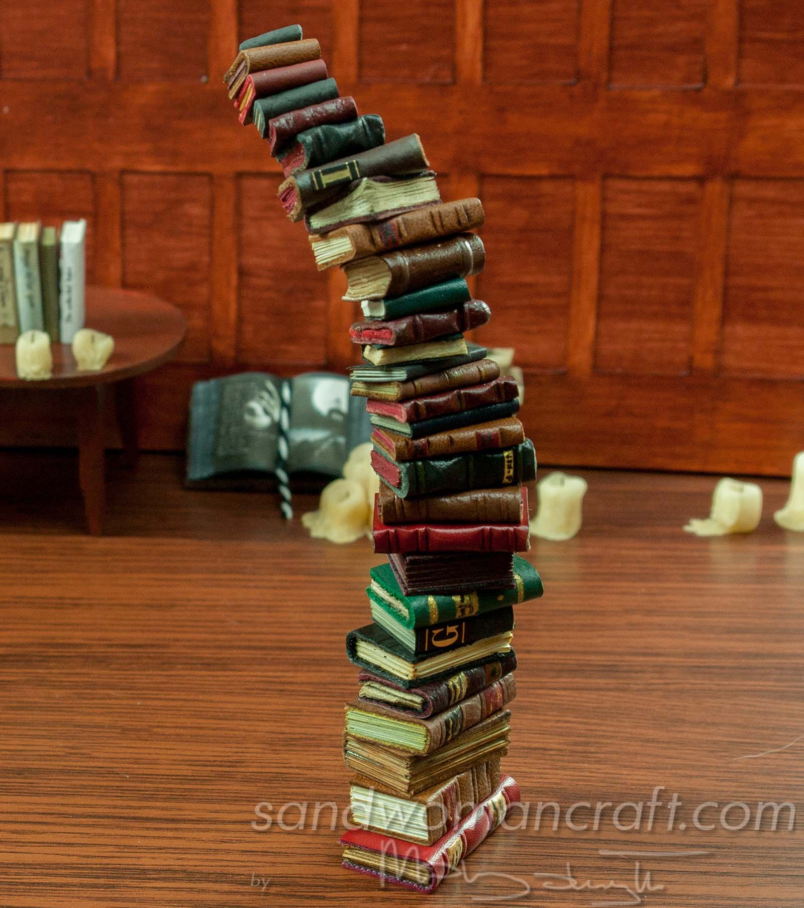 Pile stack set of 30 miniature leather books in 112 scale