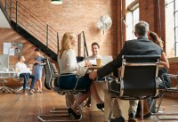 business people in trendy co-working space