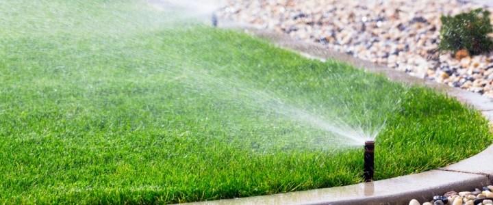 Sprinkler spraying water to the lawn