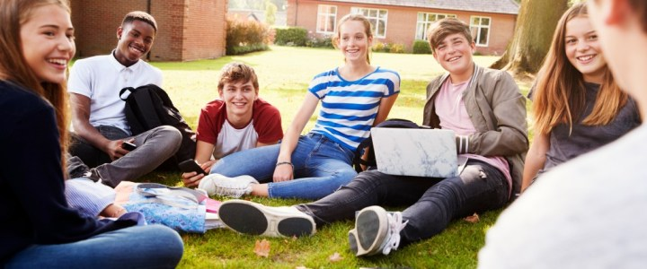 Teenagers sitting on school grounds