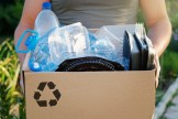 plastics inside a box for recycling