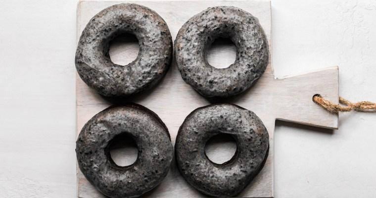 Black Sesame Glazed Doughnuts