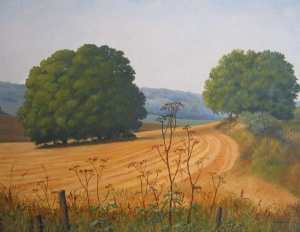 August field, Dorset, oil painting by Sandy Kendall