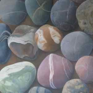 coloured stones, still life by Sandy Kendall, fine artist