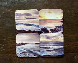 photo of four of the seascape designs coasters
