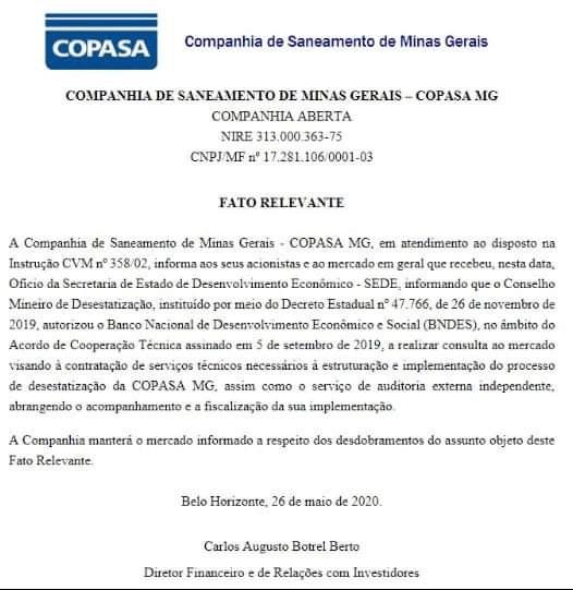 Zema dá mais um passo para privatização da Copasa 1