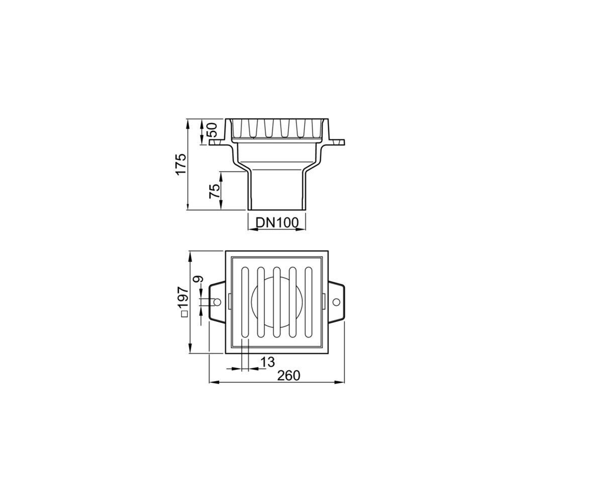 hight resolution of aco basement cast iron gulia with vertical outlet dn100 51941000 jpg