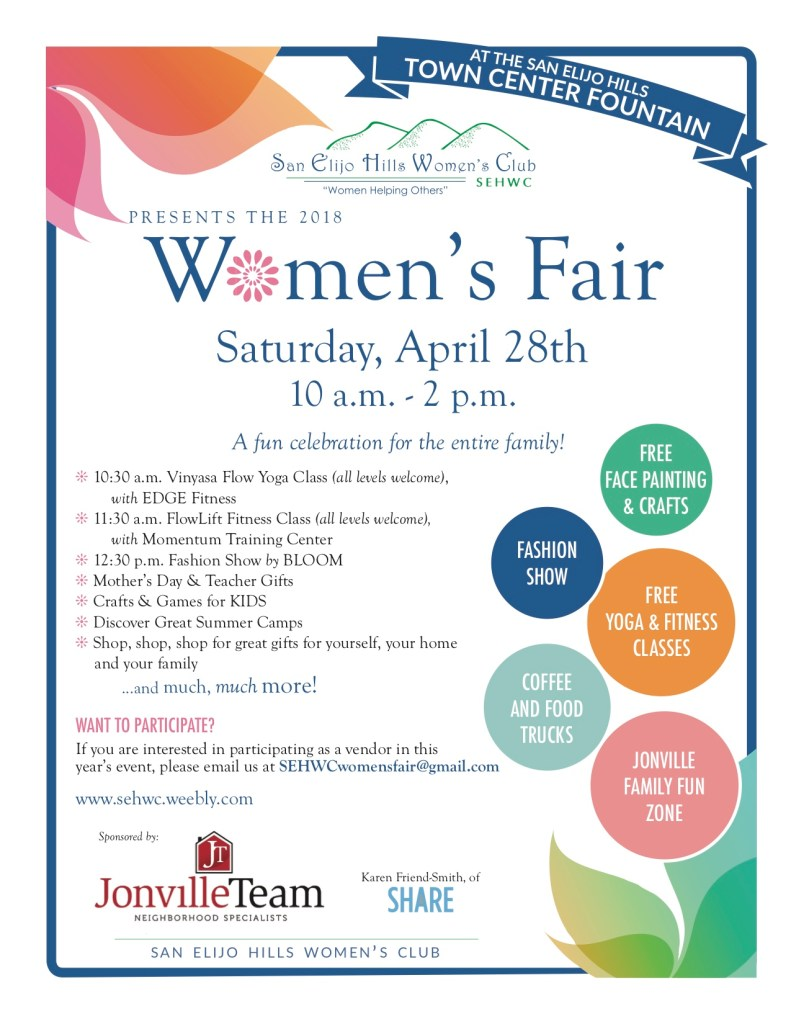 3rd Annual Women's Fair, hosted by the San Elijo Hills Women's Club