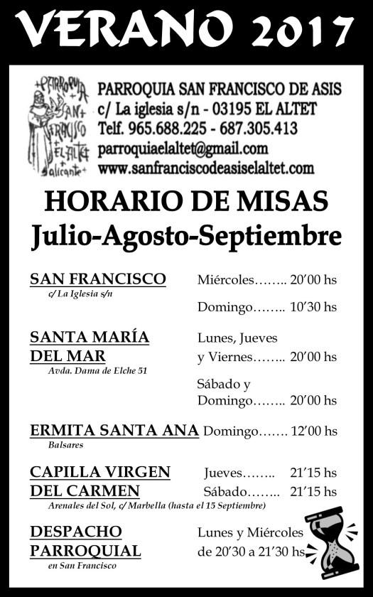 Parroquia El Altet - Horario de misas verano 2017