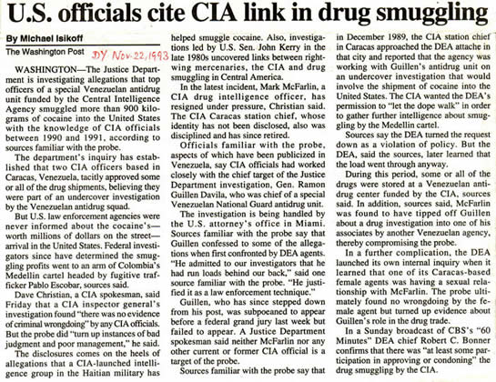 Washington Post Nov 22 1993 article on CIA & drug smuggling Michael Isikoff