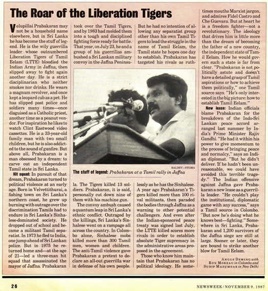 Roar of the Liberation Tigers Newsweek Nonember 9 1987 Prabakaran at a Tamil rally in Jaffna