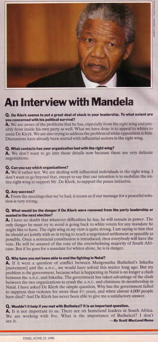 Mandela interview TIME June 25 1990