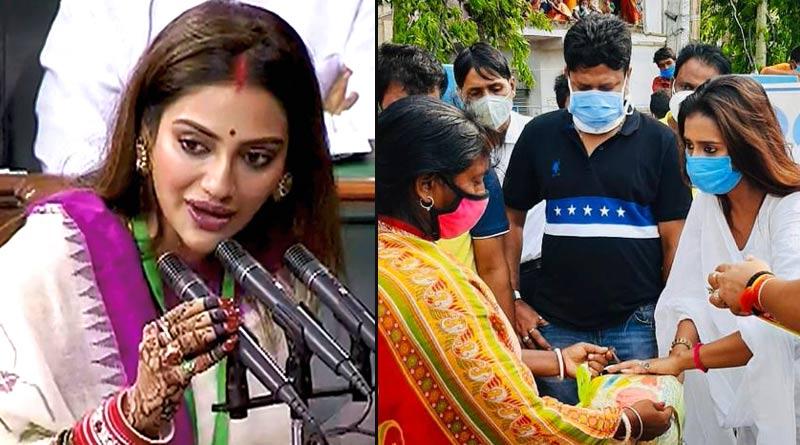 Sayantika Banerjee distributed relief in in Hingalganj Nusrat Jahan's Basirhat Constituency   Sangbad Pratidin