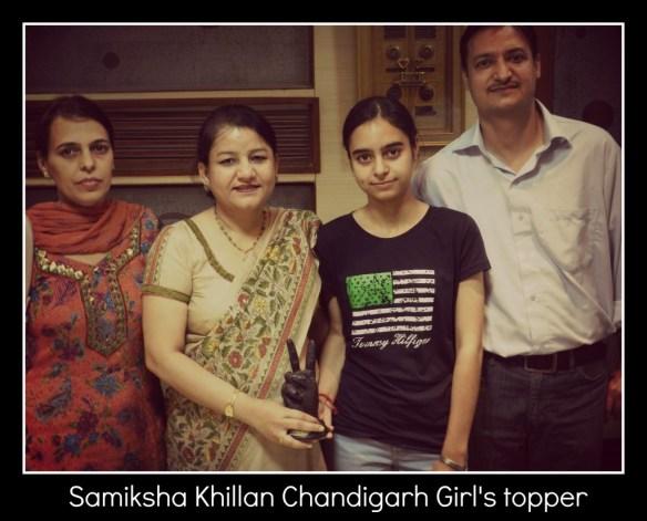 Samiksha Khillan Chandigarh IIT Girl's topper