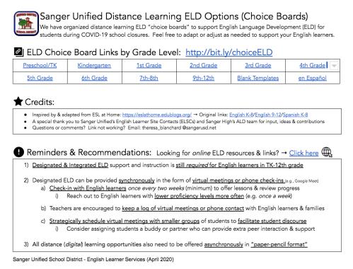 small resolution of Sanger Designated ELD - SANGER LEARNS