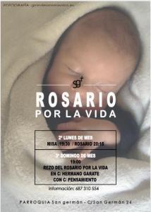 Cartel Rosario Misa x la vida