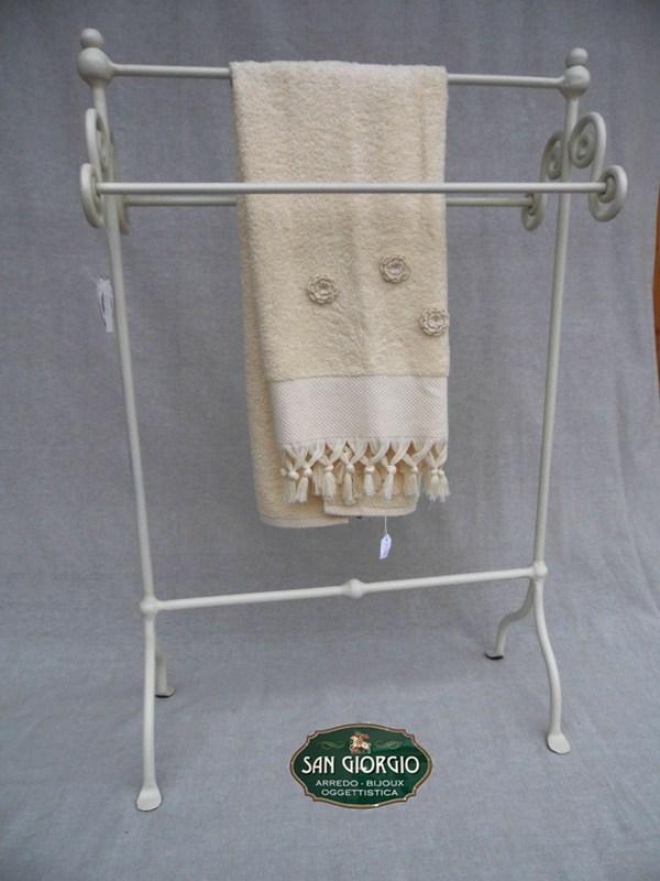 Porta asciugamano tre posti grande bianco san giorgio for Arredo bagno porta asciugamani