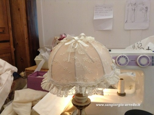cappello lampada in pizzo,classico shabby, romantico,arredo