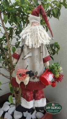 babbo natale-santa claus-natale-feste natalizie-decoro babbo natale di stoffa-santa claus