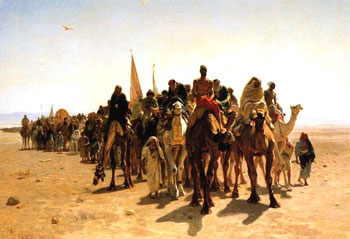 Pilgrims going to Mecca' by Leon Belly, French. Oil, 1861