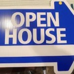 Large Blue Open                               House Sign