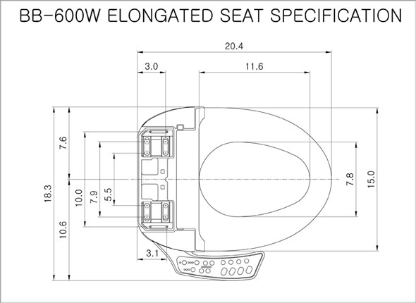 BB-600 Bidet Seat Measurement