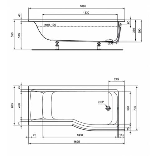 baignoire douche asymetrique connect air version droite