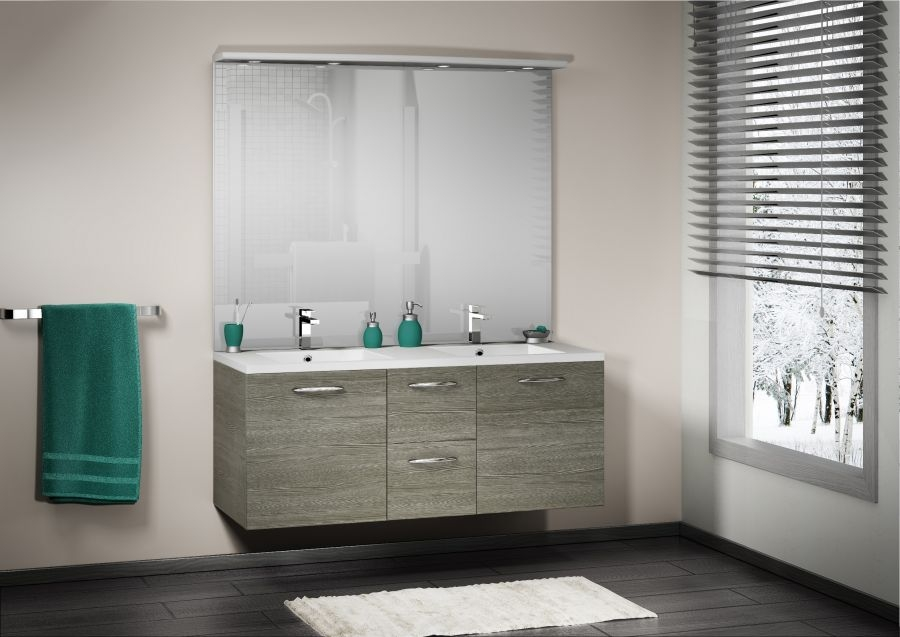 meuble double vasque integrale 140 cm sciee gris