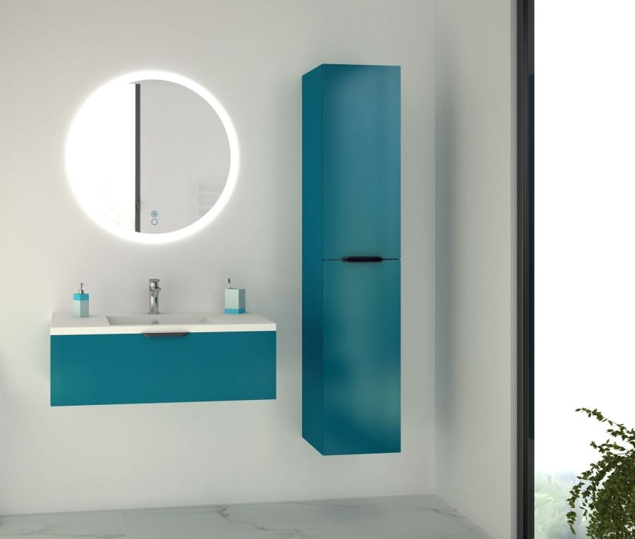 Meuble Simple Vasque Loft 90 Bleu Canard Discac