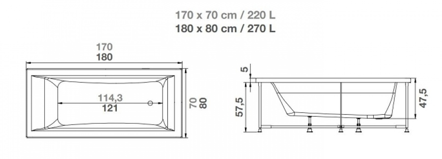 Baignoire Balno Plnitude Rectangulaire 180x80 Tte