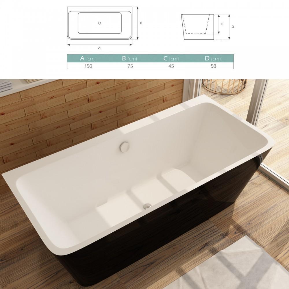 malmo baignoire ilot rectangulaire