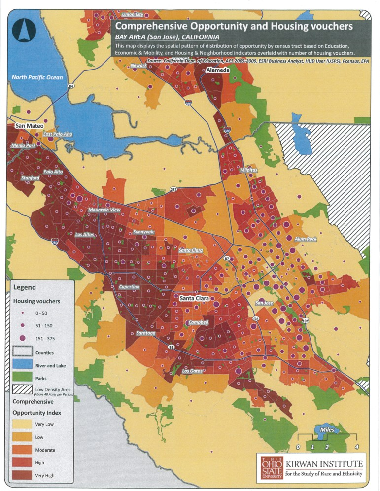 A map showing how Section 8 renters tend to end up in the lowest income, lowest opportunity neighborhoods.