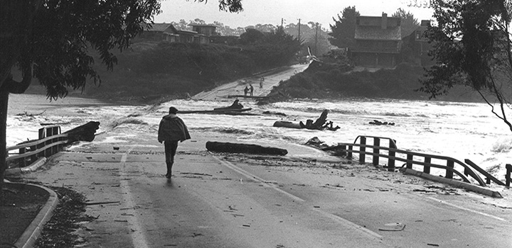 WASHED AWAY Coastal roads were decimated during the winter storms of 1982. (Photo by Greg Griggs)