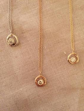 Necklaces made by Christine Guibara using Diamond Foundry gems.